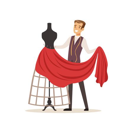 Costureira masculina costurando vestido vermelho em um costureiras manequim, designer de roupas ou alfaiate, trabalhando no vetor de oficina ilustração sobre um fundo branco Foto de archivo - 94833552
