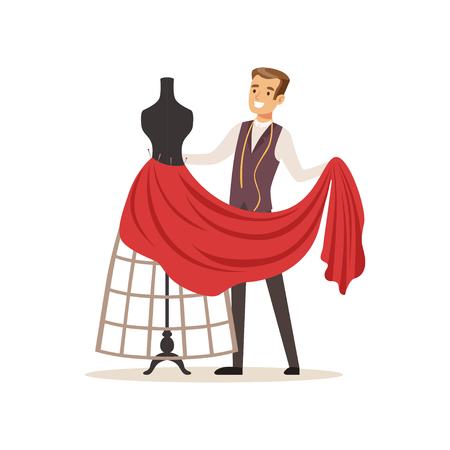 Male dressmaker sewing red dress on a dressmakers dummy, clothing designer or tailor working at atelier vector Illustration on a white background