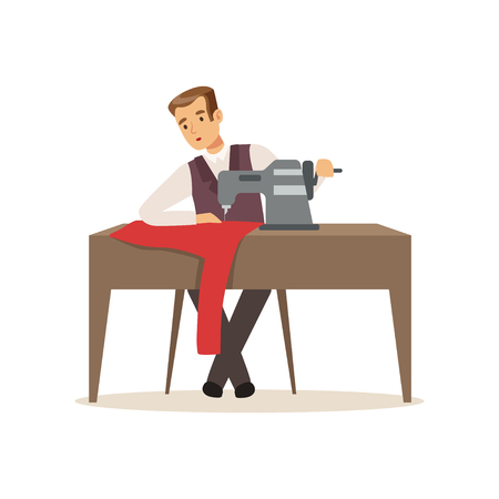 Male dressmaker sewing clothes by sewing machine, clothing designer or tailor working at atelier vector Illustration on a white background Standard-Bild - 94833547