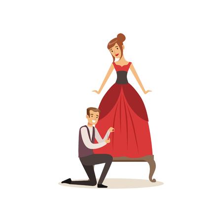 Mannelijke kleding ontwerper of kleermaker werken bij atelier, jonge vrouw kleding maken bij de kleermaker vector illustratie op een witte achtergrond
