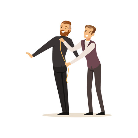 Male dressmaker taking measurements from young man, tailor couture working at atelier vector Illustration on a white background Vettoriali