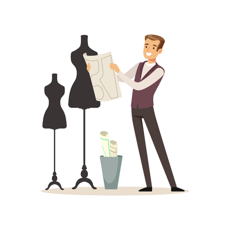 Male fashion designer standing near the dummy, tailor couture working at atelier vector Illustration on a white background