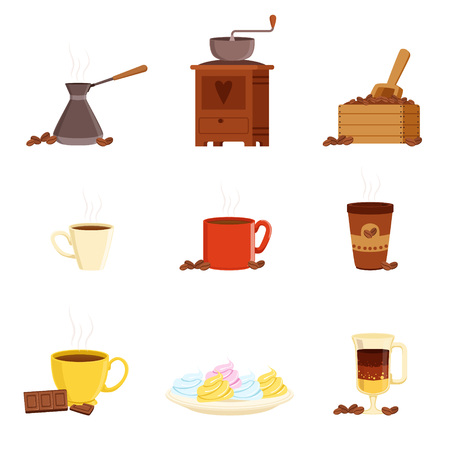 Coffee set, various kitchen utensils for making coffee and food ingredients vector Illustrations isolated on a white background Illustration
