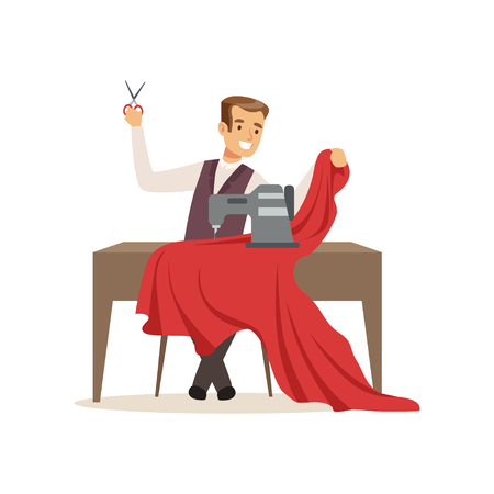 Male dressmaker with a sewing machine, clothing designer or tailor working at atelier vector Illustration on a white background Stock Illustratie