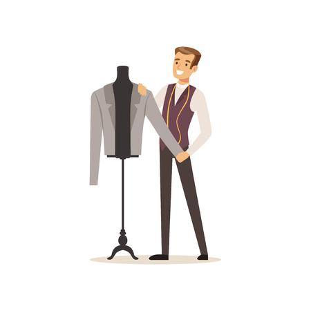 Mannelijke kleding ontwerper of kleermaker werken bij atelier vector illustratie op een witte achtergrond Stock Illustratie