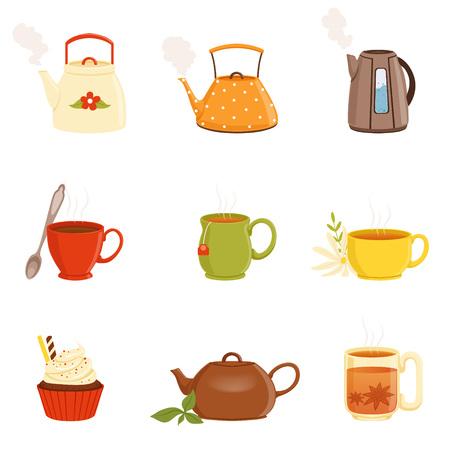 Theestel, diverse keukengerei, theekop en ketel vectorillustraties Stock Illustratie
