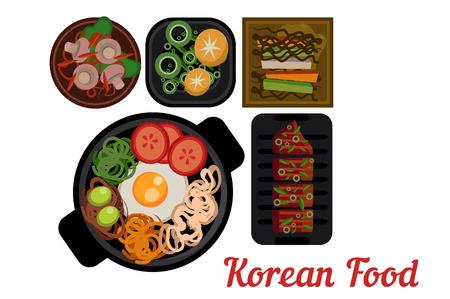 한국 요리입니다. 맛있는 아시아 음식 접시입니다. 비빔밥, 야채, 돼지 고기, 구운 돼지 고기 및 전통적인 반찬. 일러스트