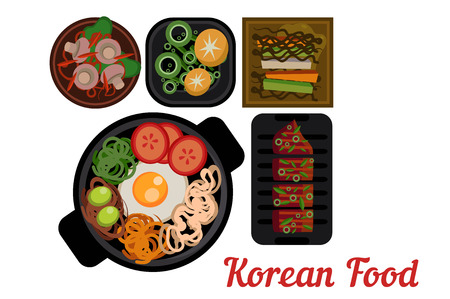 National Korean cuisine. Plates with delicious Asian food. Bibimbap with vegetables, pigodi, grilled pork and traditional side dishes.