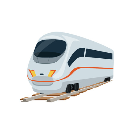 Speed modern white railway train locomotive, passenger waggon vector Illustration on a white background Illustration