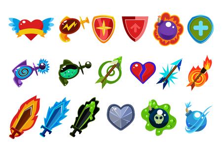 ゲーム インターフェイス要素。翼を持つ心、ポーション付きボトル、防御シールド、魔法の矢、爆弾、剣。カラフルなフラットスタイルのアイコン