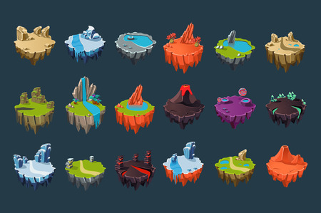 Cartoon set of stone isometric islands with volcanoes, lakes, waterfalls, glaciers, craters, crystals and rocks. Colorful elements for fantasy computer or mobile game. Isolated flat vector design.