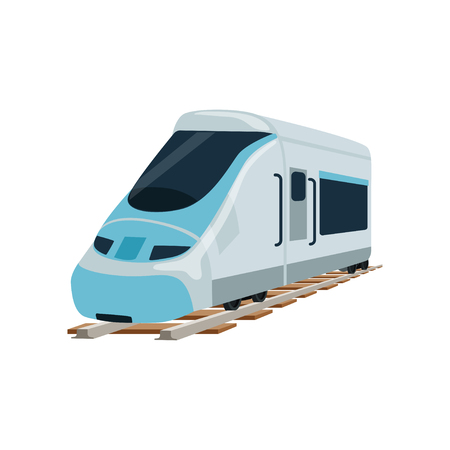Speed modern railway train locomotive, passenger waggon vector Illustration Banco de Imagens - 94989391