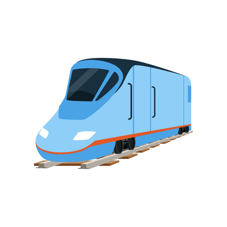 Speed modern blue train locomotive vector Illustration