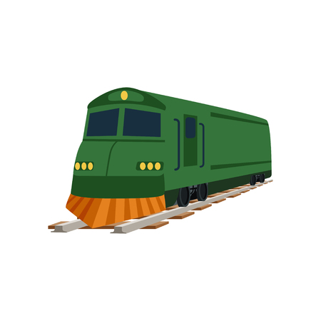 Green cargo or passenger train locomotive vector Illustration