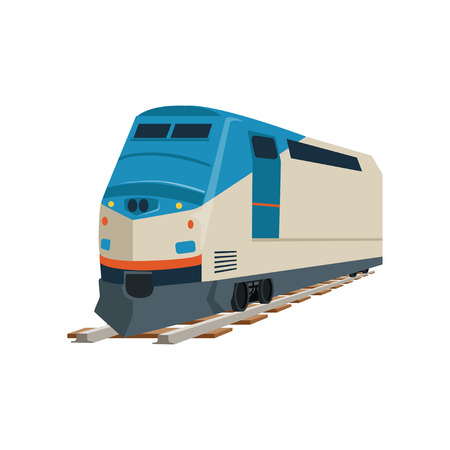 Speed modern train locomotive vector Illustration on a white background