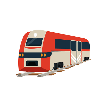 Railway locomotive or passenger car vector Illustration