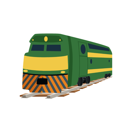 Green cargo or passenger railway train locomotive vector Illustration