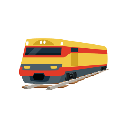 Yellow cargo railway train locomotive vector Illustration