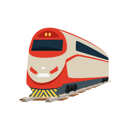 Speed modern railway train locomotive vector Illustration Banco de Imagens - 94989399