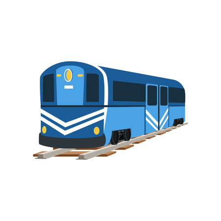 Underground blue train locomotive, subway transport vector Illustration