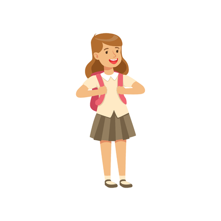 Smiling girl character in school uniform standing with backpack vector Illustration