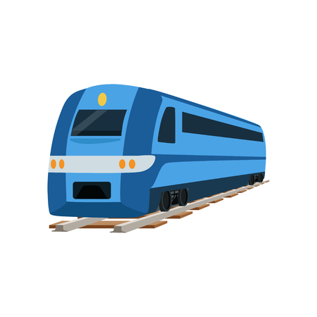 Railway locomotive train or passenger car vector Illustration