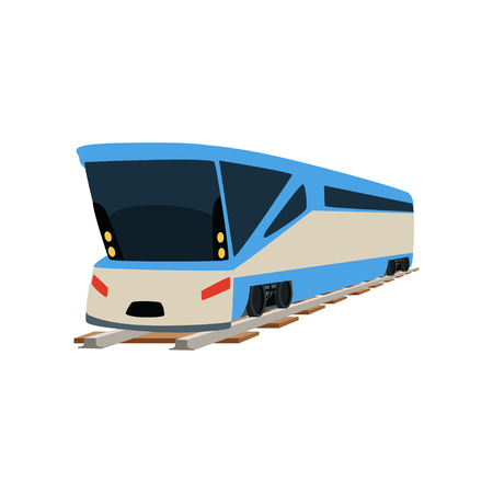 Speed modern train locomotive, passenger waggon vector Illustration