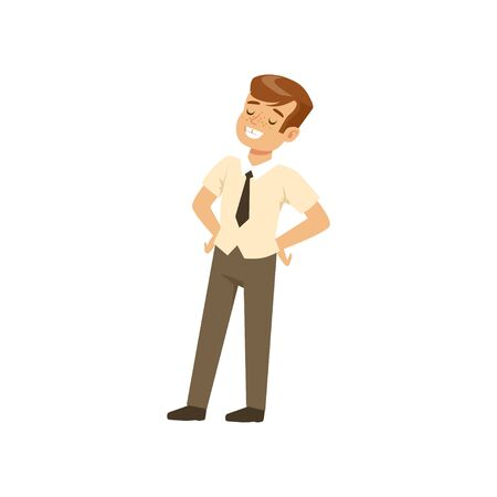 Smiling boy character in school uniform standing with hands on hip vector Illustration