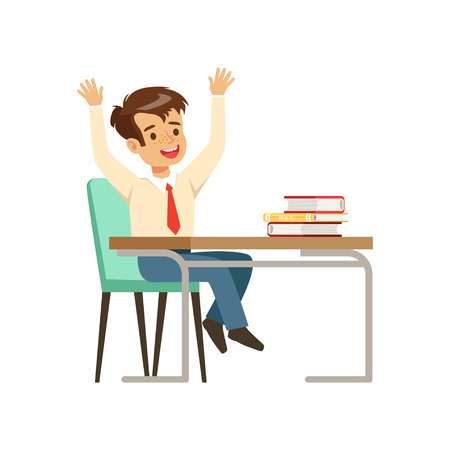 Smiling boy character in school uniform sitting at the desk with textbooks vector Illustration