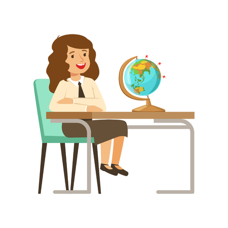Beautiful girl character in school uniform sitting at the desk with textbooks and globe vector Illustration