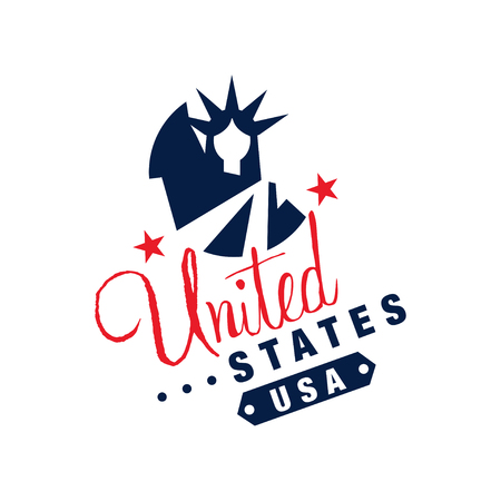 Original logo template with monochrome symbol of USA. Abstract Statue of Liberty and stars. Colored flat vector illustration isolated on white. Vettoriali