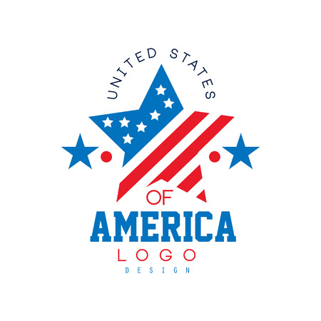 Patriotic emblem with flag in star shape. United States of America. Typographic design for poster, invitation card or banner. Original flat vector logo template