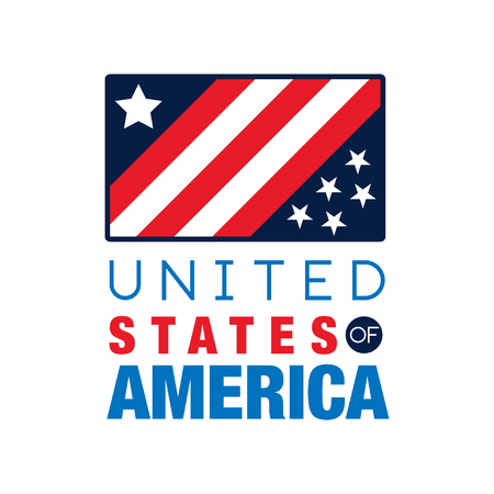 USA icon template with national flag. United States of America. Simple icon with stripes and stars. Original flat vector design for placard, print or poster
