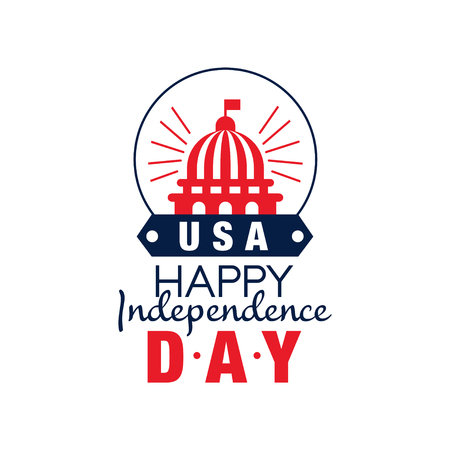 Happy independence day emblem. Silhouette of United States Capitol. 4th of July. Symbol of America in red-blue color. Flat vector for greeting card, sticker or placard