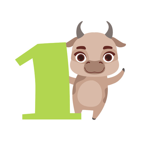 Funny cute cow animal and number one, birthday anniversary, learn to count concept cartoon vector Illustration Illustration