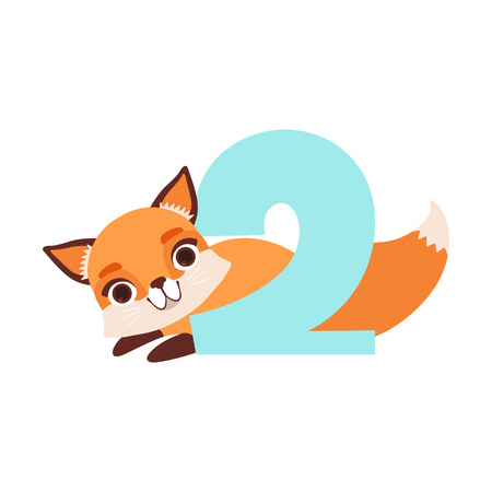 Funny cute fox animal and number two, birthday anniversary, learn to count concept cartoon vector Illustration