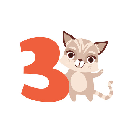 Funny cute raccoon animal and number three, birthday anniversary, learn to count concept cartoon vector Illustration