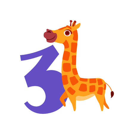 Funny cute giraffe animal and number three, birthday anniversary, learn to count concept cartoon vector Illustration Çizim