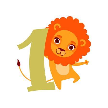 재미 있은 귀여운 사자 동물 및 번호 하나, 생일 기념일, 카운트하는 개념 만화 벡터 일러스트 배울