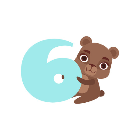 재미 있은 귀여운 갈색 곰 동물 및 번호 6, 생일 기념일, 카운트하는 개념 만화 벡터 일러스트 배울