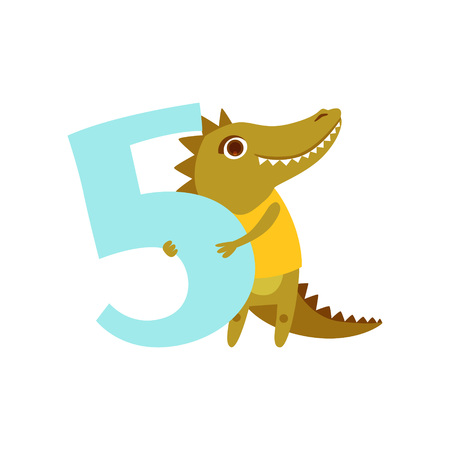 Funny cute croc animal and number five, birthday anniversary, learn to count concept cartoon vector Illustration