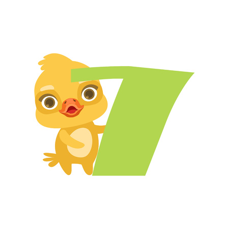 Funny cute chick bird and number seven, birthday anniversary, learn to count concept cartoon vector Illustration