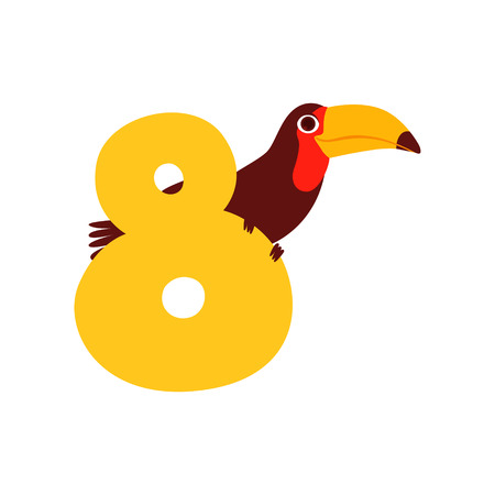 Funny cute toucan bird and number eight, birthday anniversary, learn to count concept cartoon vector Illustration on a white background