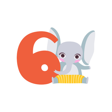 Funny cute elephant animal and number six, birthday anniversary, learn to count concept cartoon vector Illustration Illustration