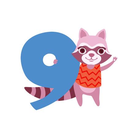 재미 있은 귀여운 너구리 동물 및 번호 9, 생일 기념일, 카운트하는 것을 배울 개념 만화 벡터 일러스트 흰색 배경에