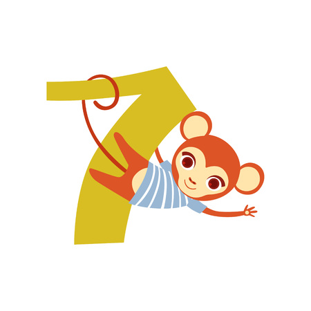 Funny cute monkey animal and number seven, birthday anniversary, learn to count concept cartoon vector Illustration on a white background