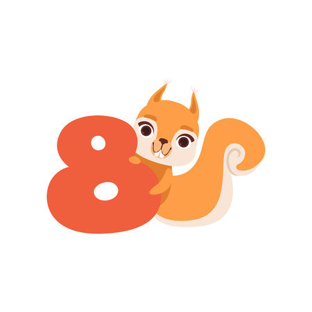 Funny cute squirrel animal and number eight, birthday anniversary, learn to count concept cartoon vector Illustration