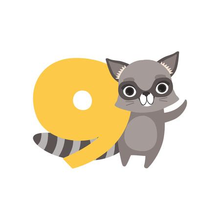 재미 있은 너구리 동물 및 번호 9, 생일 기념일, 카운트하는 것을 배울 개념 만화 벡터 일러스트