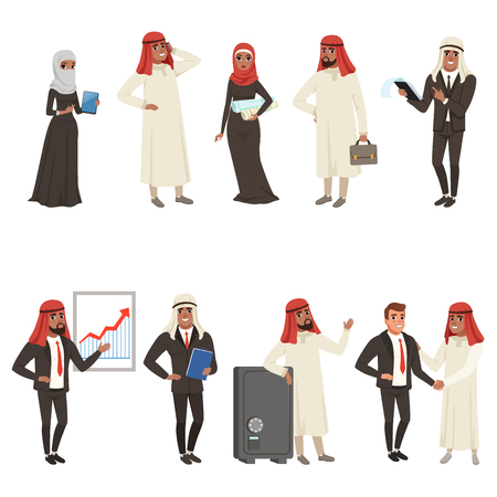 Arabian businessmen and bisinesswomen characters set, business people at work vector Illustrations