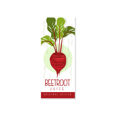 Colorful vertical label for organic beetroot juice. Healthy drink. Fresh vegetarian beverage. Hand drawn vector design for card or banner Ilustracja